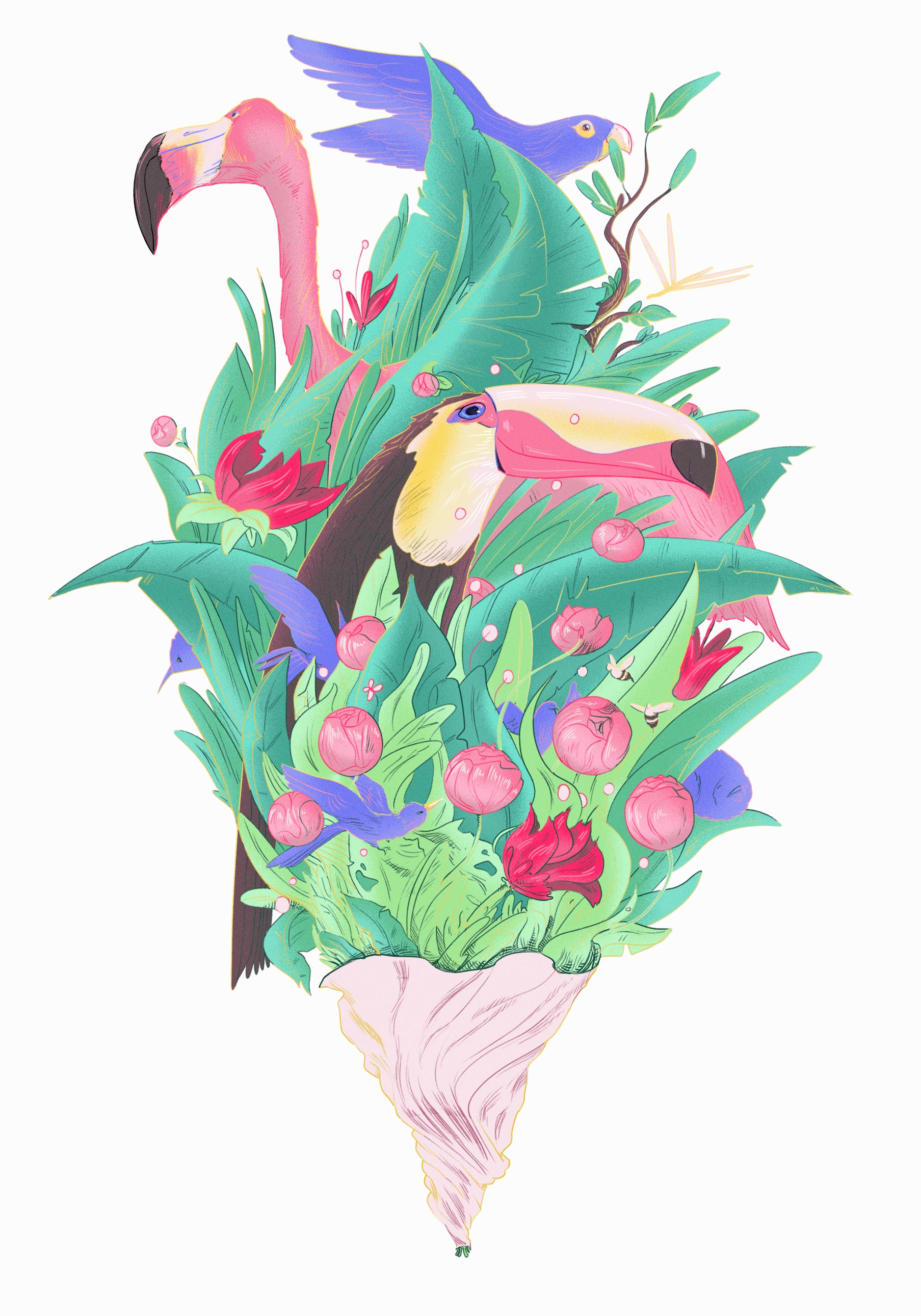 A bouquet of flowers, birds and insects.
